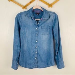 Tommy Hilfiger Chambray Button Down Blouse